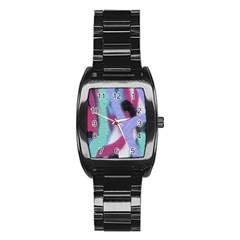 Texture Pattern Abstract Background Stainless Steel Barrel Watch