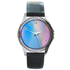 Twist Blue Pink Mauve Background Round Metal Watch