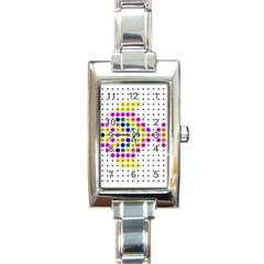 Colored Fish Rectangle Italian Charm Watch