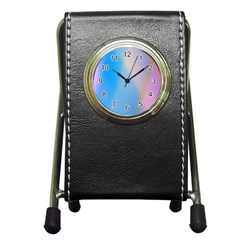 Twist Blue Pink Mauve Background Pen Holder Desk Clocks