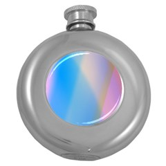 Twist Blue Pink Mauve Background Round Hip Flask (5 oz)