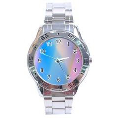Twist Blue Pink Mauve Background Stainless Steel Analogue Watch