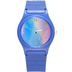 Twist Blue Pink Mauve Background Round Plastic Sport Watch (S)