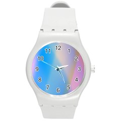 Twist Blue Pink Mauve Background Round Plastic Sport Watch (M)