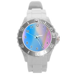 Twist Blue Pink Mauve Background Round Plastic Sport Watch (L)