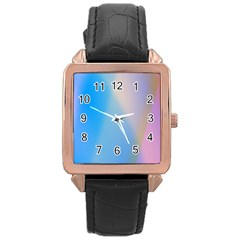 Twist Blue Pink Mauve Background Rose Gold Leather Watch
