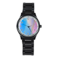 Twist Blue Pink Mauve Background Stainless Steel Round Watch