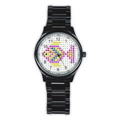 Colored Fish Stainless Steel Round Watch
