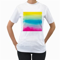 Watercolour Gradient Women s T-Shirt (White) (Two Sided)