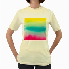 Watercolour Gradient Women s Yellow T-Shirt