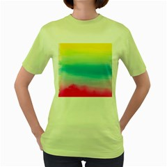Watercolour Gradient Women s Green T-Shirt