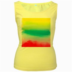 Watercolour Gradient Women s Yellow Tank Top