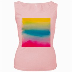 Watercolour Gradient Women s Pink Tank Top
