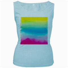 Watercolour Gradient Women s Baby Blue Tank Top