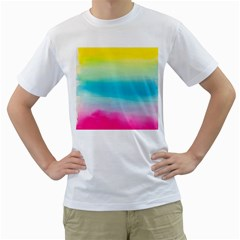 Watercolour Gradient Men s T-Shirt (White) (Two Sided)