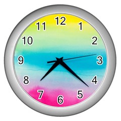 Watercolour Gradient Wall Clocks (Silver)