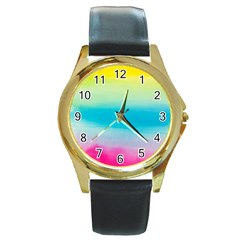 Watercolour Gradient Round Gold Metal Watch