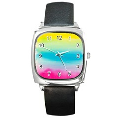 Watercolour Gradient Square Metal Watch