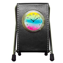 Watercolour Gradient Pen Holder Desk Clocks
