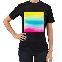 Watercolour Gradient Women s T-Shirt (Black) (Two Sided)