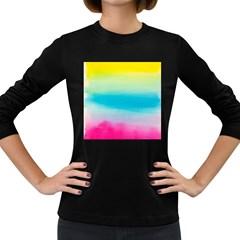 Watercolour Gradient Women s Long Sleeve Dark T-Shirts