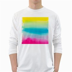 Watercolour Gradient White Long Sleeve T-Shirts