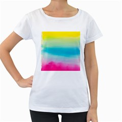Watercolour Gradient Women s Loose-Fit T-Shirt (White)