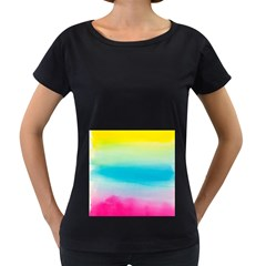 Watercolour Gradient Women s Loose-Fit T-Shirt (Black)
