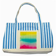 Watercolour Gradient Striped Blue Tote Bag