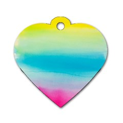 Watercolour Gradient Dog Tag Heart (Two Sides)