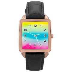Watercolour Gradient Rose Gold Leather Watch