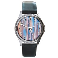 Vertical Abstract Contemporary Round Metal Watch