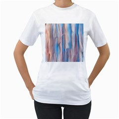 Vertical Abstract Contemporary Women s T-Shirt (White) (Two Sided)