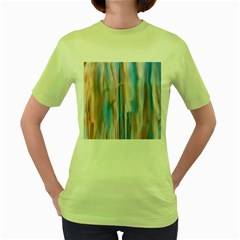 Vertical Abstract Contemporary Women s Green T-Shirt