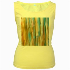 Vertical Abstract Contemporary Women s Yellow Tank Top