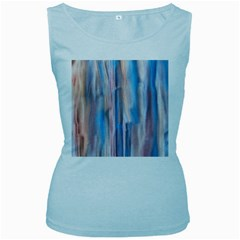 Vertical Abstract Contemporary Women s Baby Blue Tank Top