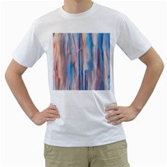 Vertical Abstract Contemporary Men s T-Shirt (White) (Two Sided)
