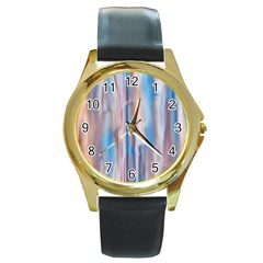 Vertical Abstract Contemporary Round Gold Metal Watch