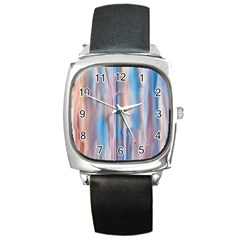 Vertical Abstract Contemporary Square Metal Watch