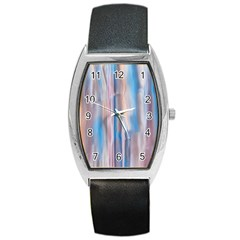 Vertical Abstract Contemporary Barrel Style Metal Watch