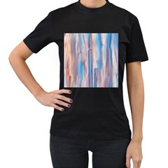 Vertical Abstract Contemporary Women s T-Shirt (Black) (Two Sided)