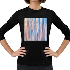 Vertical Abstract Contemporary Women s Long Sleeve Dark T-Shirts