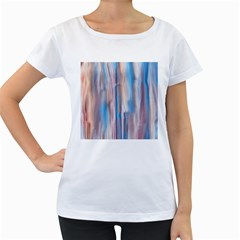 Vertical Abstract Contemporary Women s Loose-Fit T-Shirt (White)