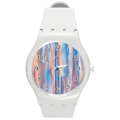 Vertical Abstract Contemporary Round Plastic Sport Watch (M)