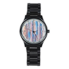 Vertical Abstract Contemporary Stainless Steel Round Watch