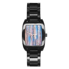 Vertical Abstract Contemporary Stainless Steel Barrel Watch
