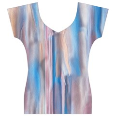 Vertical Abstract Contemporary Women s V-Neck Cap Sleeve Top
