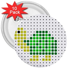 Colored Turtle 3  Buttons (10 pack)