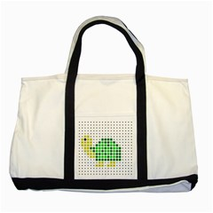 Colored Turtle Two Tone Tote Bag