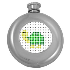 Colored Turtle Round Hip Flask (5 oz)